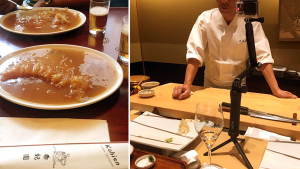 ひとり一皿、しかも外はまだ明るい…。/銀座久兵衛では、当時新発売だったGoProを持ち込んで寿司職人を撮影するという暴挙に/(C)小悪魔ドルチェ寿司