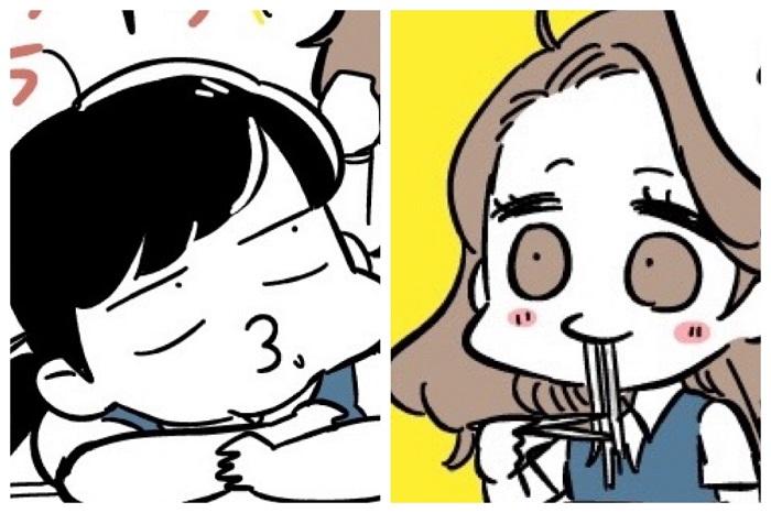 左から、だら先輩、ギャルちゃん(漫画:若林杏樹)