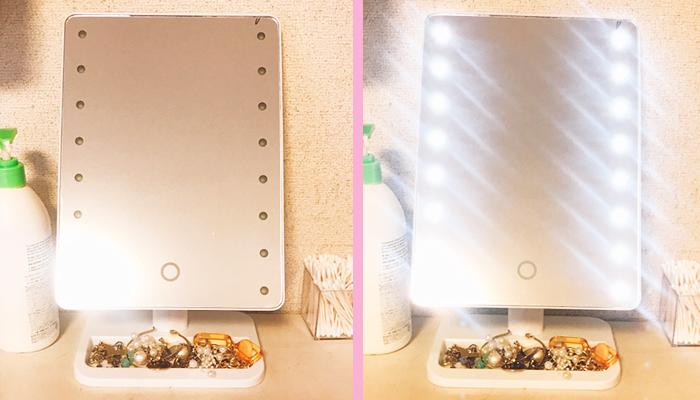 LED卓上ミラー(トレー付き)  税込2,490円(写真:canちゃん)