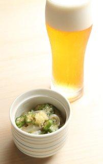 「イカとオクラの生姜醤油和え」お酒とご飯とおそばにも合う