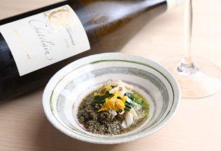 「ワタリガニと壬生菜のとんぶり和え」薄味仕上げの上品小鉢