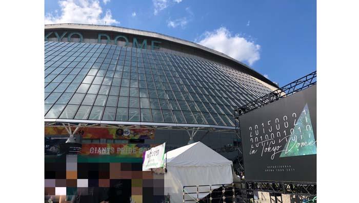 欅坂46待望の東京ドーム公演に国内だけでなく海外からも多くのファンが駆けつけた。結成日(20150821)からドーム公演日(201901819)の日付けが入った看板も/(写真:こじらぶ)