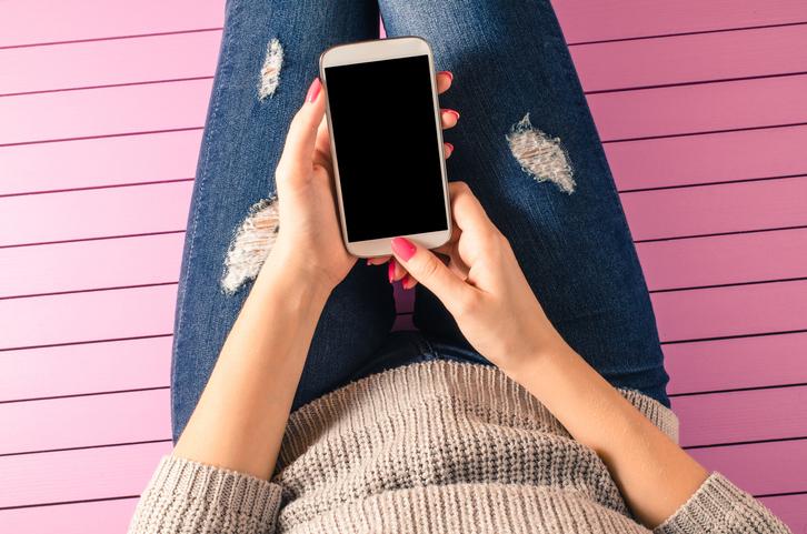 女性らしいピンク色のスタンプは好感度大(写真:iStock)
