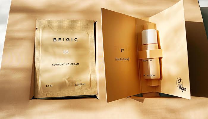 話題の韓国発ヴィーガンブランド「BEIGIC 」。ベージック ルーセントオイル ミニサイズ(3.5ml)と、コンフォーティングクリームのパウチ(1.5ml)。(写真:iStock)