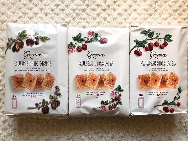 CUSHIONS(チョコレート味、ストロベリー味、チェリー味)各148円(税抜) /(C)コクハク