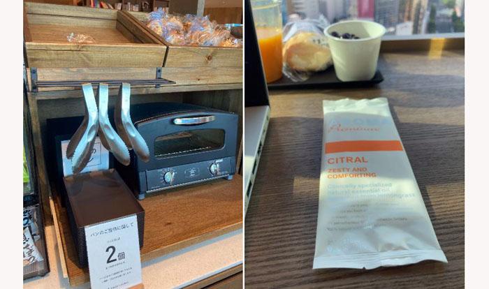 アラジンのトースターで軽く温めることもできる! 入り口ではアロマの香りがするお手拭きもいただけます(写真右)/(C)コクハク