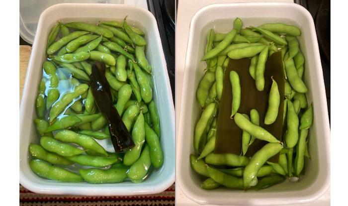 塩水昆布漬けのビフォーアフター。左が漬け始めで、右が一晩置いたもの。昆布の旨味が広がっている感じ♡(C)コクハク