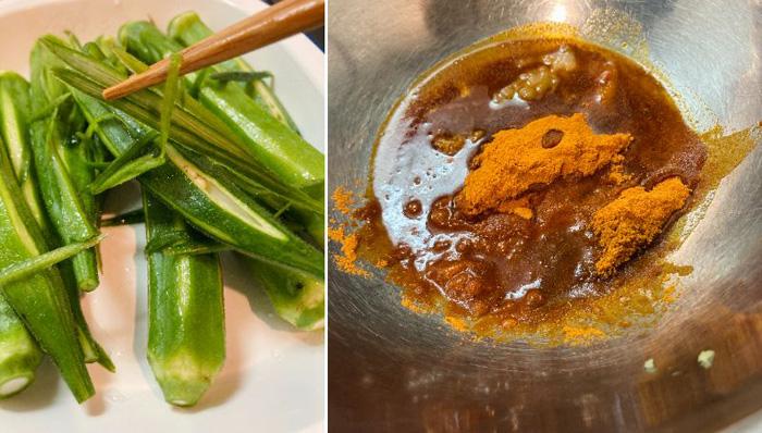 切ったそばからネバネバ。粉唐辛子は韓国食材のお店などで売っています(C)コクハク